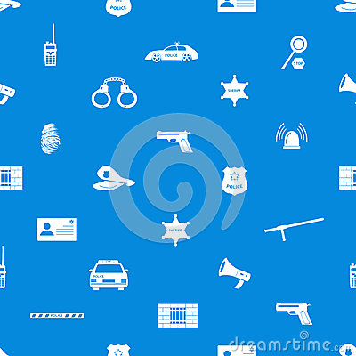 Police icons blue and white seamless pattern