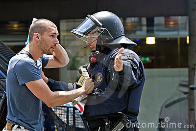 Police intervention, Barcelona, Spain Editorial Stock Image