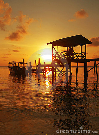 Free Police Jetty Sunset Sulu Sea SE Asia Royalty Free Stock Photo - 760905