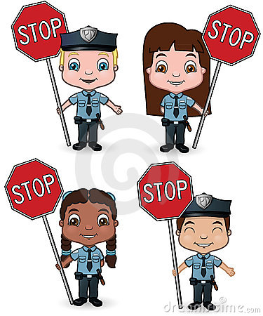 Police Kids with Stop Signs