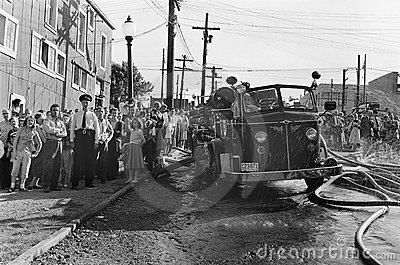 Police Line, Vintage News Photo, BC Canada Editorial Photo