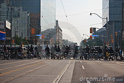 The police line blocking protestors G8/G20 Summit Editorial Stock Image