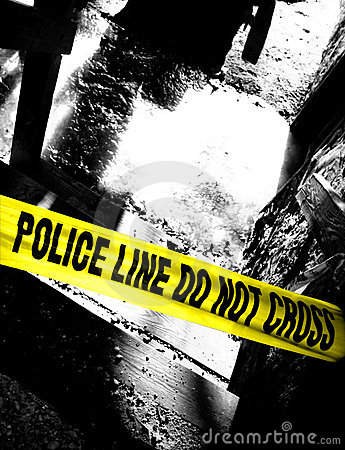 Free Police Line Do Not Cross Tape At Grim Crime Scene Stock Photos - 1963713