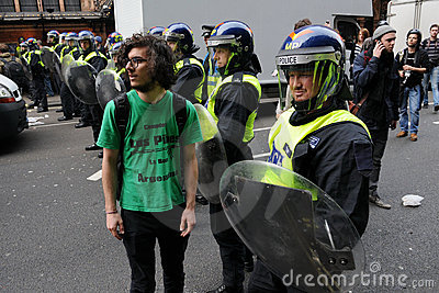Police Line at a Riot in London Editorial Photo