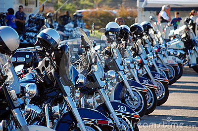 Police Motorcycles lined up for competition Editorial Stock Image