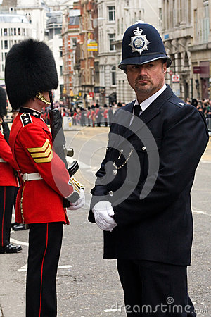 Police Officer and British Army Soldier at Thatcher funeral Editorial Photography
