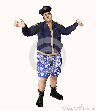 Free Police Officer Caught With Pants Off Royalty Free Stock Photo - 73583865