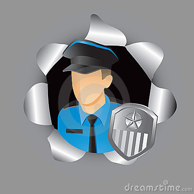 Police officer coming out of hole