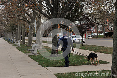 Police officer with dog patroling NY Editorial Stock Image
