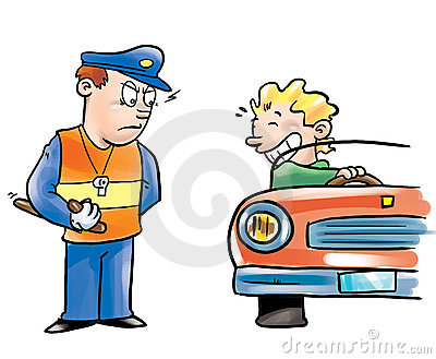 Police officer and driver