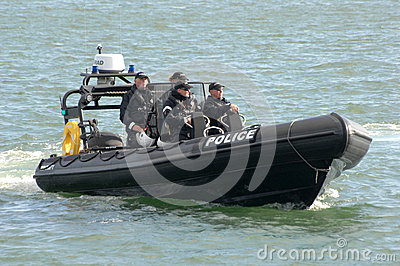 Police officer harbour patrol Editorial Photo