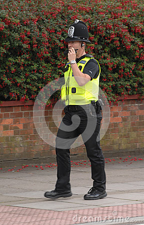 Police officer radio call Editorial Stock Image
