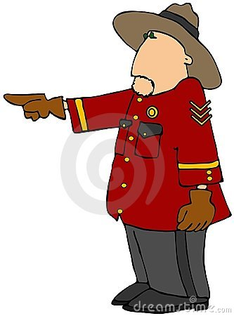 Police Officer In Red Coat And Hat