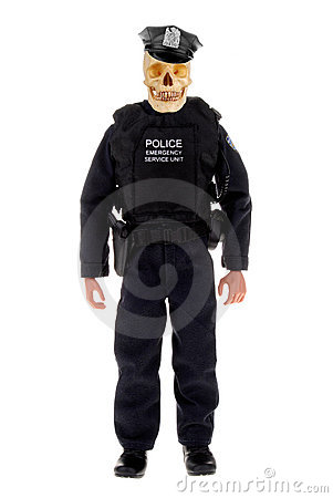 Police officer with skull