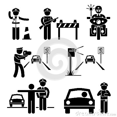 Police Officer Traffic on Duty Pictogram Icon