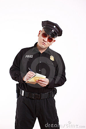 Police officer writing citation