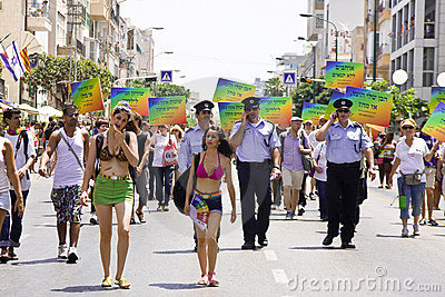 Police officers providing safety at Pride March TA Editorial Stock Photo