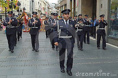 Police orchestra on the street Editorial Stock Image