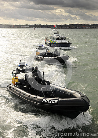 Police patrol boats Editorial Stock Image