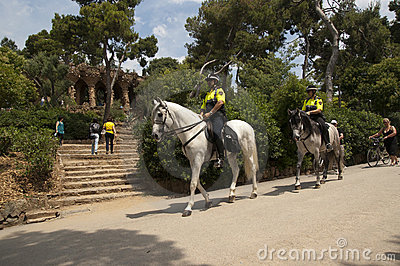 Police patrol in Parc Guell Editorial Stock Photo