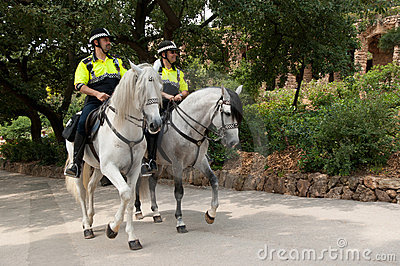 Police patrol in Parc Guell Editorial Photography