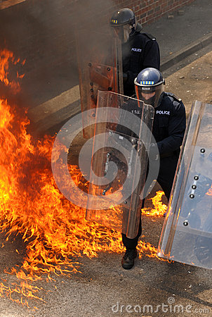 Police and petrol bombs Editorial Stock Image
