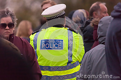 Police Presence Crowd Editorial Photo