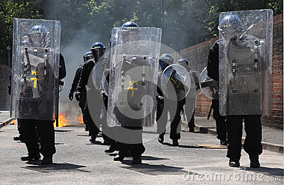 Police Riot Advance Editorial Photography