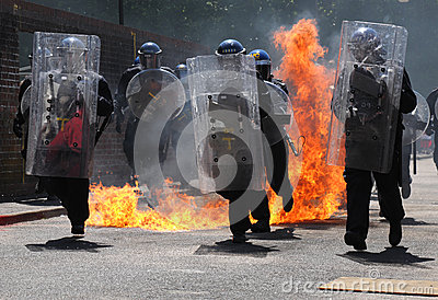Police Riot Shields Editorial Stock Photo