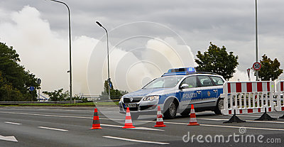 Police Road Block Editorial Stock Image