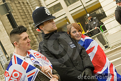 Police and Royal Wedding wellwishers Editorial Stock Image