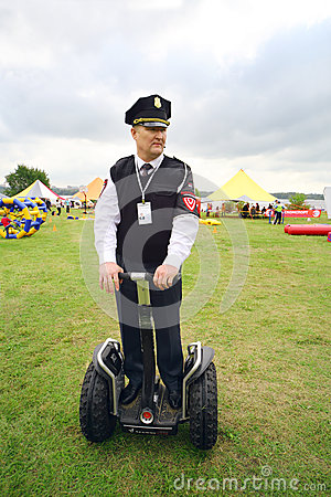 Police on Segway at festival Ekofest 2012 Editorial Photography