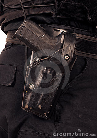 Police Sig Sauer 9mm automatic pistol