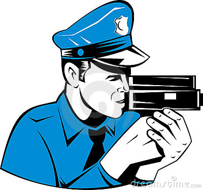 Police with speed camera gun