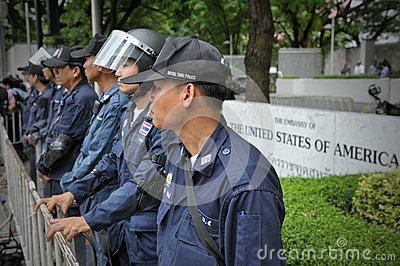 Police on Standby outside an American Embassy Editorial Photography