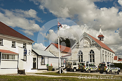 Police Station in Stanley, Falkland Editorial Photography