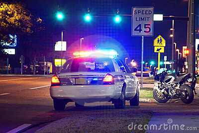 Police traffic stop at night