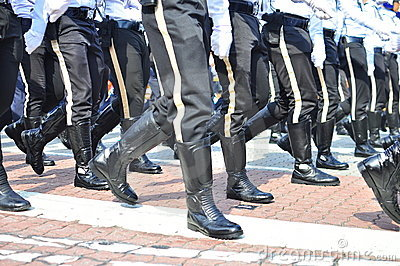 Police unit marching