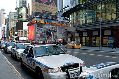 Police vehicles in times square Editorial Photo