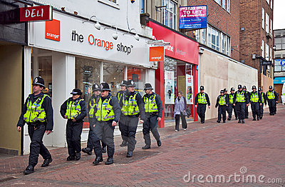 Police warmup Editorial Stock Image