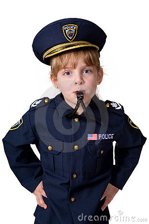 Free Policegirl Blowing Her Whistle Stock Image - 4428701