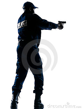 Policeman aiming handgun