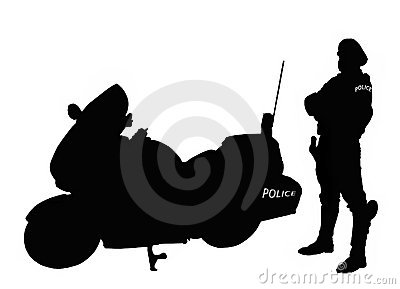 Policeman biker silhouette