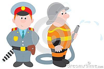 Policeman and fireman