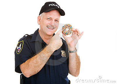 Policeman Loves Donuts Stock Photos - Image: 7051903