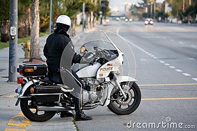 Policeman on a police motorbike