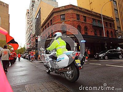 Policeman on police motorbike Editorial Stock Image