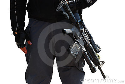 Policeman and rifle