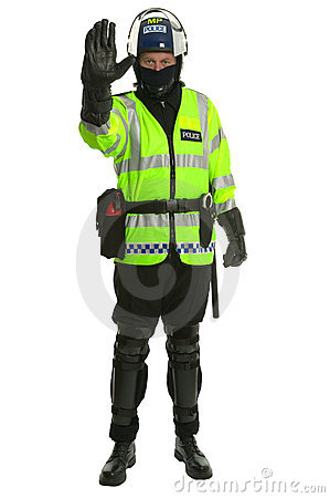 Policeman in riot gear - Stop