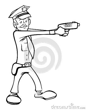 Policeman shooting outline